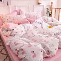 ins四件套韩式公主风纯棉少女心床单1.5m被套宿舍单人床上三件套3 粉红色 文雅火烈