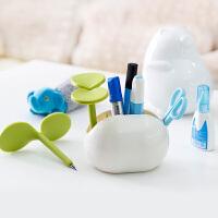 )收纳盒创意家居办公桌面收纳盒化妆品梳妆台收纳豆豆笔盒塑料 豆豆收纳盒-白