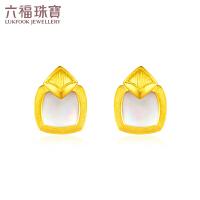 六福珠宝黄金耳钉小时光系列灵光白贝母耳钉女金饰计价GDGTBE0016