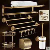 卫浴五金挂件套装 欧式全铜仿古浴室毛巾架卫生间厕所置物架壁挂浴巾架洗手间家用放置架Cg