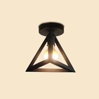 美式乡村复古工业铁艺吸顶灯三角型客厅吸顶灯吧台灯灯具