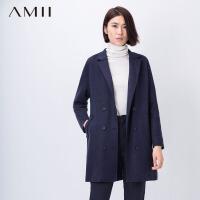 【满200减100上不封顶】Amii[极简主义]秋冬装新大码宽松呢子大衣翻领中长款毛呢外套女