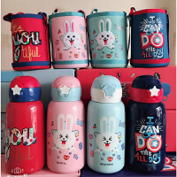 熊本士550ML一壶双盖(吸管+杯盖式)保温水杯 316不锈钢儿童保温杯子 配送杯套