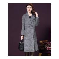 双面混纺羊绒大衣女中长款新款秋冬格子仿羊绒大衣毛呢外套女 灰色格子