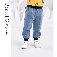 【2件3折价:49.8元】铅笔俱乐部童装2021春秋小童牛仔长裤束脚儿童男童休闲裤潮流