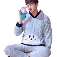 套头睡衣男生家居服可爱卡通韩国青少年加绒珊瑚绒法兰绒长袖套装