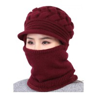 中老年人帽子女士冬天加厚连体妈妈毛线帽老人奶奶老太太冬季保暖 酒 均码有弹性(55-62cm)