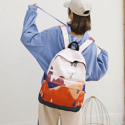 书包女原宿ulzzang大高中学生植物系双肩包森系风景帆布背包