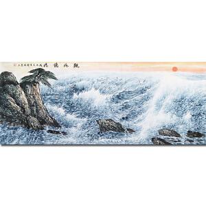 中国民族画院院长、中国大海研究会会长、一级美术师周 智 慧先生作品――观海听涛