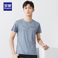 【补贴价:59】罗蒙男士短袖圆领T恤衫2021夏季新款t恤中青年时尚印花休闲上衣男