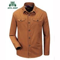 战地吉普AFS JEEP长袖衬衫男 男士修身休闲工装衬衣 水洗户外休闲免烫衬衫