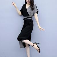 【女神必抢】气质显瘦 塑造优雅身姿 2019年流行裙子新款夏季收腰显瘦气质黑色雪纺开叉连衣裙女过膝