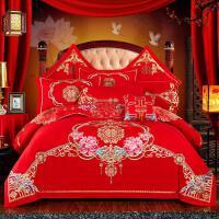 新婚庆四件套大红色全棉刺绣结婚房被套喜被子六八十件套纯棉床品 红色 好事成双 1.5m(5英尺)床 四件套