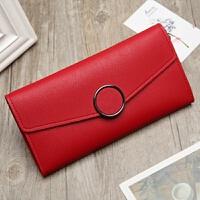 长款钱包女士韩版简约时尚圆环软皮手拿包皮夹钱夹