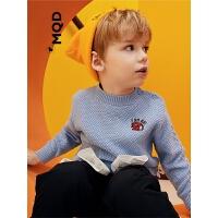 MQD童装儿童加厚毛衣男宝宝2019冬装新半高领保暖毛衣小童针织衫