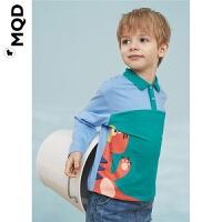 MQD小童拼块撞色POLO衫20春儿童小恐龙图案保罗衫男宝宝打底上衣