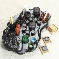 尚帝 弥勒实木茶盘-乌紫砂陶瓷茶具套装140506-344DYPG