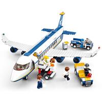 兼容乐高积木启蒙拼装积木飞机模型男孩玩具生日礼物 航空天地空中巴士