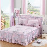 纯棉床罩床裙式荷叶花边床单防滑保护席梦思防尘床套1.2m1.5米1.8