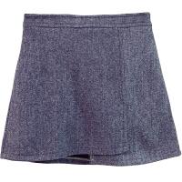 毛呢不规则高腰短裙女冬韩版纯色显瘦A字裙防走光包臀呢子半身裙 灰色