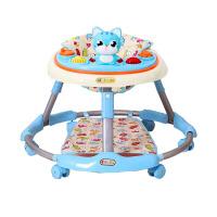 婴儿学步车防侧翻多功能可折叠儿童助步车宝宝学步车 -音乐灯光+脚垫