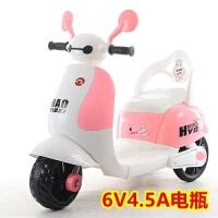 新款大白儿童电动摩托车宝宝音乐电瓶车童车三轮车玩具可坐电动车