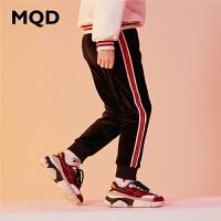 【1件3折:138】MQD童装加厚女童针织裤2019冬季新款加绒条纹运动裤儿童保暖裤潮