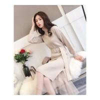 两件套秋装新款中长款宽松学生pphome女韩版毛衣裙加厚 均码两件套