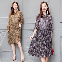 实拍长袖中长款气质时尚2017年春季高腰立领花色甜美连衣裙