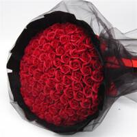 99朵仿真红玫瑰花束香皂花黑纱求婚表白生日礼物女生假花肥皂花束 99朵红皂花 黑纱 圆形