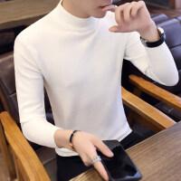 秋冬季新款男士长袖T恤男装上衣半高领针织打底衫毛衣男潮流秋衣