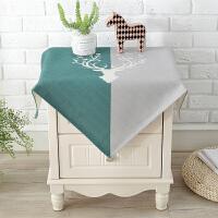 棉麻布艺床头柜盖布多用盖布小桌布洗衣机单开门冰箱防尘罩