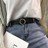 女士皮带简约百搭时尚韩版牛皮黑色圆扣腰带真皮学生装饰牛仔裤带