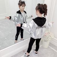 秋季韩版中大童银色上衣2019新款秋装儿童夹克女童洋气外套