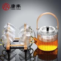 玻璃提梁泡茶�卮筇�家用�F代��s功夫茶杯整套花黑茶普洱煮茶��