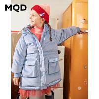 MQD童装女童中长款丝绒羽绒服2020冬装新款儿童加厚保暖羽绒服