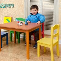 瑞美特美式实木儿童桌椅套装组合幼儿园课桌写字桌书桌一桌4椅