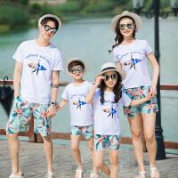 2019夏季新款海边度假沙滩装一家三口四口全家家庭装套装亲子装