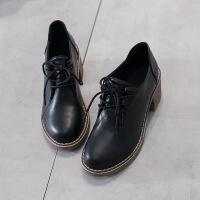 女鞋秋季新款百搭韩版小皮鞋女潮高跟粗跟圆头工作英伦风