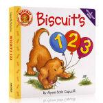 进口英文原版绘本 Biscuit's 123 小饼干系列学习数字 图画翻翻书 纸板书 Alyssa Satin Cap