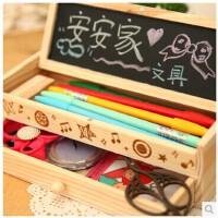开学必备文具 韩国创意可爱文具 创意文具多功能文具盒 大容量简约铅笔盒 韩版创意木制笔袋 黑板木制铅笔盒