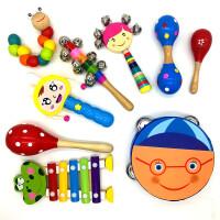 婴儿手摇铃0-1岁玩具男女宝宝新生儿训练抓握木质手摇铃套装