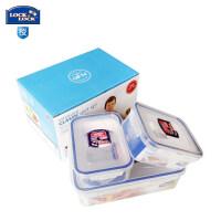 乐扣乐扣大容量3件套饭盒套装 保鲜盒礼盒储物盒套装HPL817S001 半透明