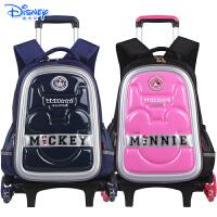 迪士尼米奇儿童小学生书包三轮可爬楼配送防雨罩拉杆书包BA0405