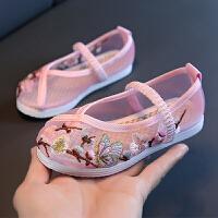 中国风夏季宝宝凉鞋女童网鞋民族风老北京汉服布鞋儿童绣花鞋