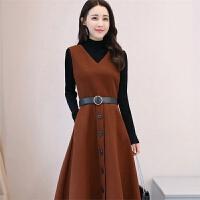 2018秋冬新款时尚韩版女装毛呢长袖连衣裙两件套套装裙