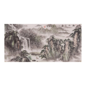 李春海《松山飞瀑》山水  国画 精品 装饰 送人字画的佳品