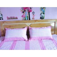 老粗布枕套床单三件套双人单人学生床单被罩定制