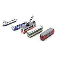 公交车模型 合金车模1:64滑行警车消防救护救援车工程车小汽车巴士公交车模型 ETI平安号