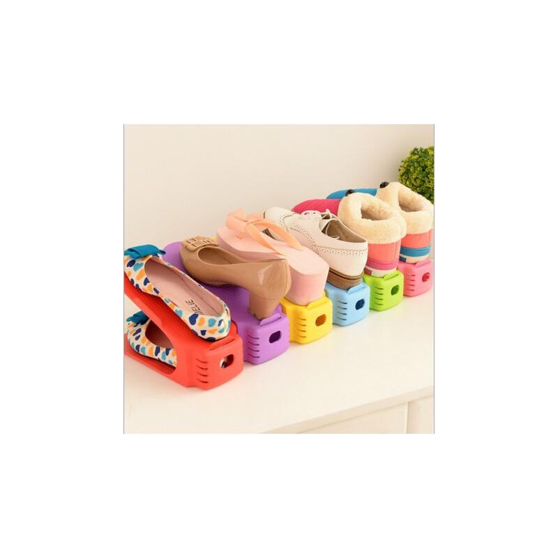 创意一体式省空间双层简易塑料鞋架鞋托 学生宿舍鞋子收纳满68元包邮